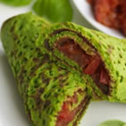 Spinach pancake roll ups