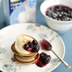 Lemon and ginger pikelets with blueberry compote