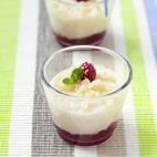 Coconut and raspberry rice pudding