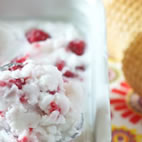 Coconut and raspberry sorbet