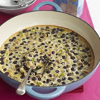Blueberry and pistachio clafoutis